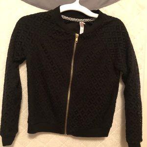 Xhilaration Black Zipper Black Jacket Size M 7/8
